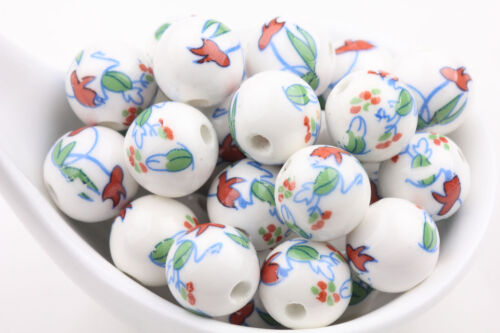 10//20Pcs  Round Ceramic Porcelain Flower Pattern Loose Spacer Charms  Beads 12mm