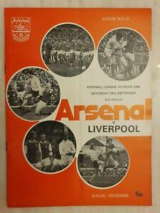 1972/73  ARSENAL v LIVERPOOL - 16th September
