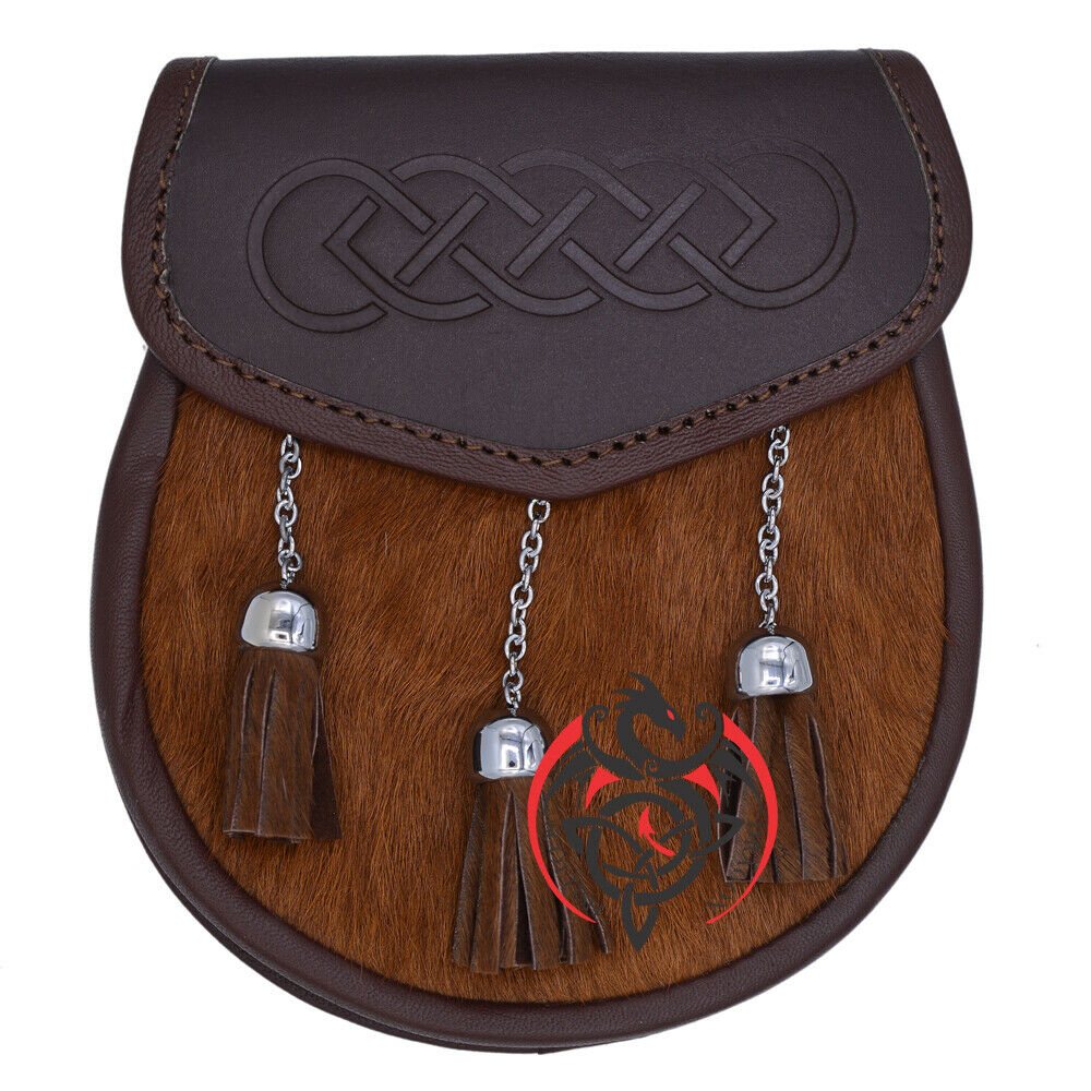 Semi Dress Kilt Sporran Leather Brown Bovine Celtic Design Embossed Chain Belt