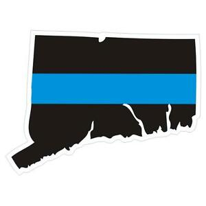 Connecticut-CT-State-Thin-Blue-Line-Police-Sticker-Decal-174-Made-in-U-S-A