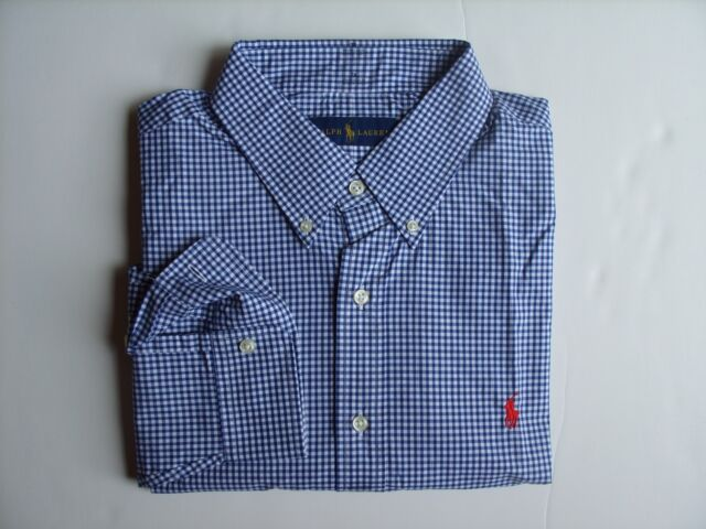 b4698eff Polo Ralph Lauren Men's Blues Plaid Button Front Shirt Long Sleeve Size  X-large