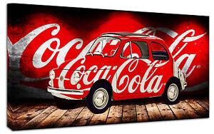 Dettagli Su Quadro Moderno Fiat 500 Coca Cola Vintage Arredamento Arte Arredo Stampa Su Tela