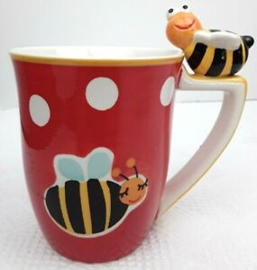Indra-Bumble-Bee-Coffee-Tea-MUG-Hand-Painted-Fine-Stoneware-CUP-5-5-Inches-EUC