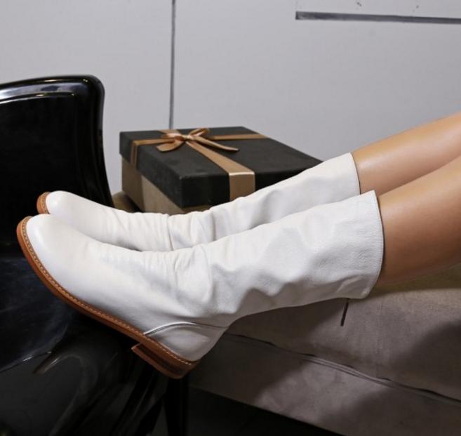 Damenschuhe Mid Calf Stiefel Leder Low Heels Retro Back Zip Ridding Schuhes Round Toe M