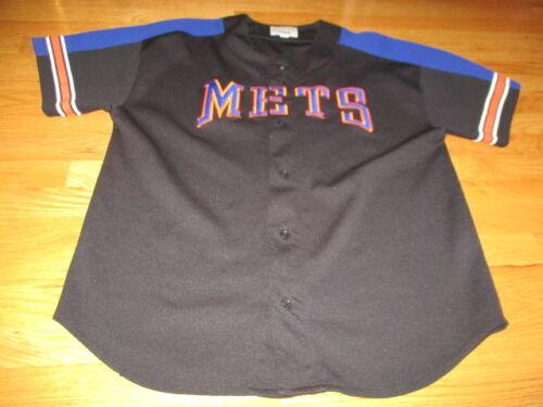 Vintage Starter NEW YORK METS Button-Down (XL) Jersey BLACK & BLUE