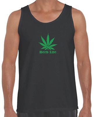 Mens Printed Addicted Green Marijuana HUBE LIFE Funny Dope MMA Weed Pot Tank Top