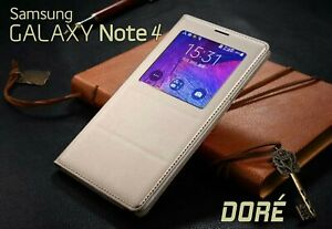 Housse-Etui-Flip-S-View-Dore-Samsung-Galaxy-Note-4-Auto-Smart-Case-Cover