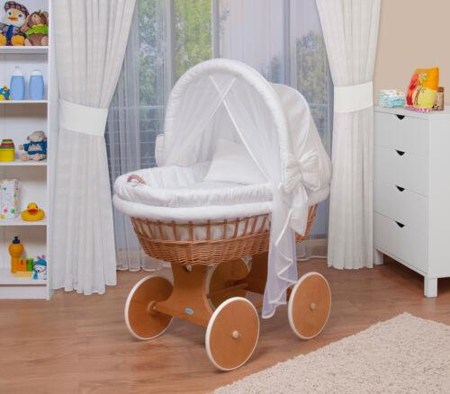 XXL Stubenwagen WALDIN Baby Bollerwagen komplett mit Zubehör Stoffe Weiß