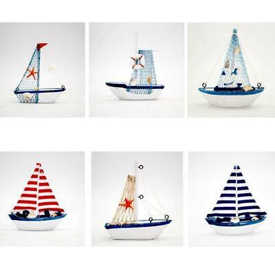 2x Nautical Style Wooden Sailing Boat Home Living Room Decor Crafts Ornament
