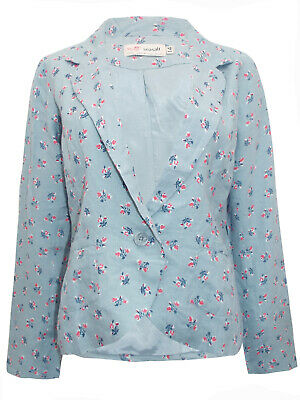 New SEASALT Gorgeous Duck Egg Blue Blossom Print Dove Linen Jacket RRP £65 14 16