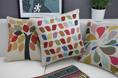 Vintage Cotton Linen Cushion Cover Home Decor Colorful Tree/Leaves/Waterdrop
