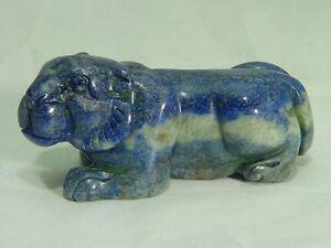 Gorgeous Genuine 88g Lapis Lazuli Lapidary Carved Lion Figure Sculpture 8638D