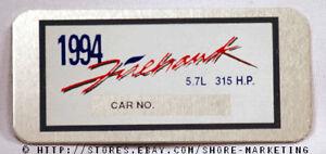 OEM-GM-SLP-1994-Firehawk-315HP-Dash-Plaque-NEW