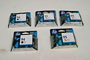 Lot-of-5-New-HP-94-amp-95-Black-amp-Tri-Color-Exp-dates-2015-2021
