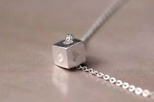 925-Sterlingsilber-Damen-Halskette-Halsketten-Wuerfel-Herz-Liebe-Symbol-Silber