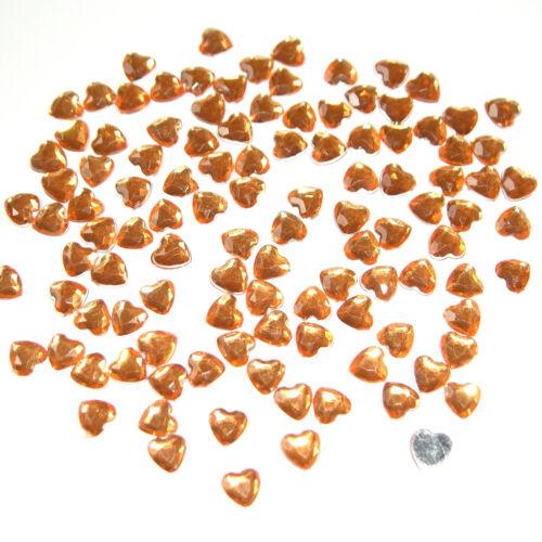 Schmucksteine zum Aufkleben Herz orange 6x6 mm Acryl-Strass-Steine 100 St