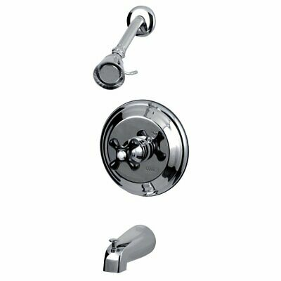 Polished Chrome Kingston Brass KB3631AX Restoration Tub and Shower Faucet with Metal Cross Handle