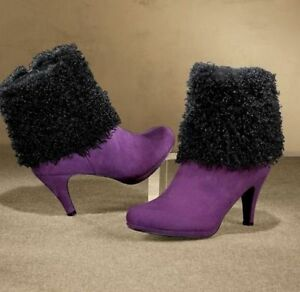 NEW WOMENS ASHRO ULTRAVIOLET AND BLACK MYSTERIE FAUX FUR BOOTIES BOOTS SIZE 11M