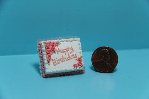 Dollhouse Miniature Happy Birthday Day Cake with Flowers ~ A1721