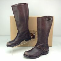 Frye Veronica Slouch Dark Brown Stone Wash Leather Riding Boots 9 B Moto