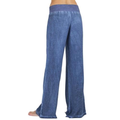 Women Casual High Waist Elasticity Denim Wide Leg Palazzo Pants Jeans Trousers A