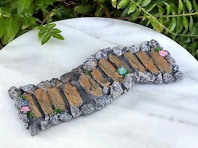 Miniature Dollhouse FAIRY GARDEN ~ Mini Resin Wood Stone /& Flower Path Walkway