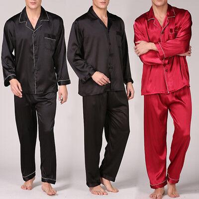 Men Satin Pajama Set Long Sleeve Shirt /&Pants Trousers Sleepwear Nightwear