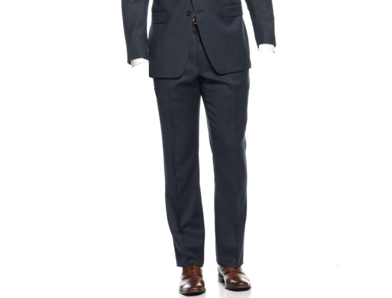 RALPH LAUREN 38W 29L Men's Trousers SOLID blueE FLAT FRONT DRESS SUIT PANTS