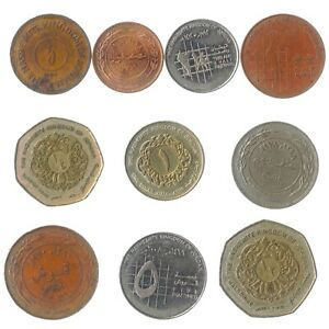 10-COINS-FROM-JORDAN-OLD-COLLECTIBLE-MONEY-MIDDLE-EAST-QIRSH-PIASTRES-DINAR