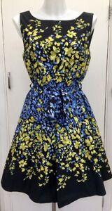 Red-Herring-50-039-s-Black-Blue-Green-Floral-039-Fit-N-Flare-039-Tie-Waist-Dress-12-14