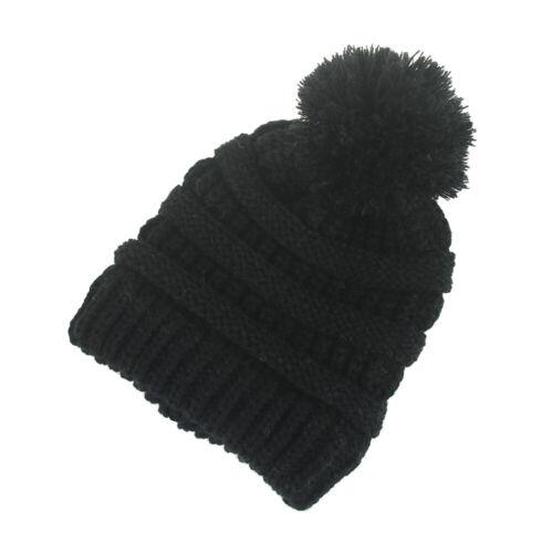 Kids Baby Toddler Cable Knit Beanie Children's Pom Winter Warm Ski Hat Beanie UK