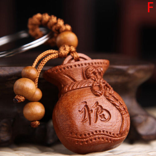 Lucky Jewelry Wood Carving Buckle Buddha Pendant  Keychain Car Bag Keyring HES