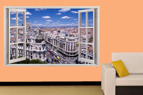 Madrid Busy Street SPAIN HOLIDAY CITY  WALL STICKER ROOM DECORATION DECAL MURAL