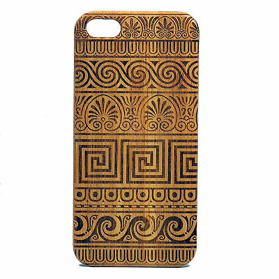 BAMBOO Case made for iPhone 5/5S & SE phones with Greek Pattern Artwork Design