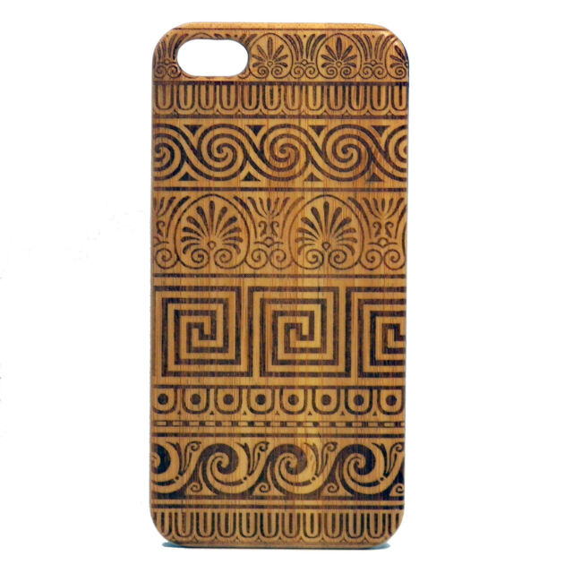 Greek Pattern Case for iPhone 7 Bamboo Wood Cover Meander Fret Key Tribal Design