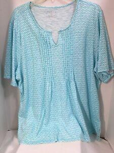 Talbots-Woman-Pull-Over-Blue-White-Geometric-Shape-Cotton-Blend-Knit-Top-Size-3X