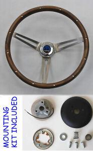 1961-1966-Dodge-Charger-Coronet-GRANT-Wood-Steering-Wheel-15-034-Real-wood-walnut