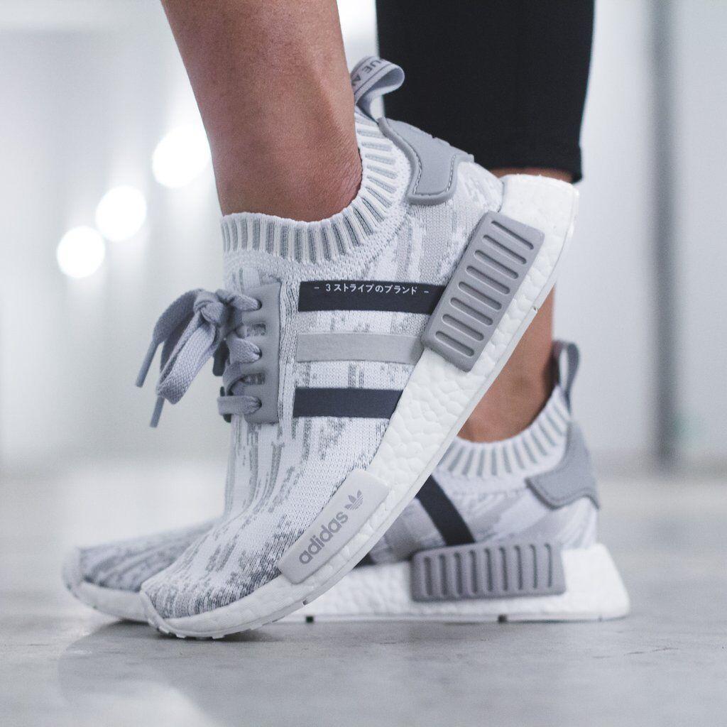 Adidas NMD R1 Primeknit Glitch Camo Womens BY9865 Grey Running shoes Sz 6.5-8.5