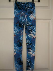 LulaRoe-Kids-Leggings-L-XL-Large-Extra-Large-Blue-With-Black-Red-White-Tropical