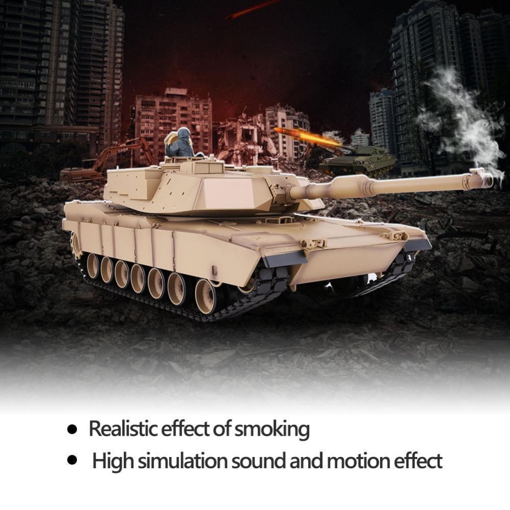 Henglong 2.4G telecomando 1/16 US MIA2 Sherman IR BATTAGLIA CARRO ARMATO RC con suono