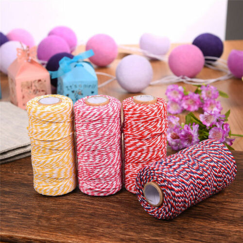 100m Retro Colourful Cotton Hemp Rope Twine String DIY Cord Craft Making Hot