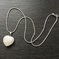 """Rock Crystal Quartz Heart Shaped Necklace Pendant With Silver Plated 18"""" Chain"""
