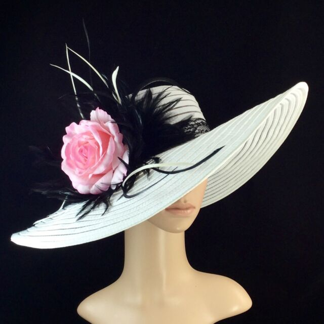 Womens Kentucky Derby WHITE Hat Feathers Wide Brim Dress Wedding Tea Party