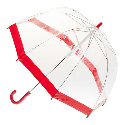 Childrens Clear Birdcage Umbrella with Red Trim