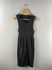 Cue Knit Women's Sleeveless Zip Long Dress with Pocket Size S Brown
