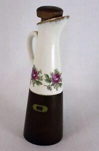 Vinegar-or-Oil-Table-Bottle-Vase-Vintage-Ceramic-and-Wood-Made-in-Japan