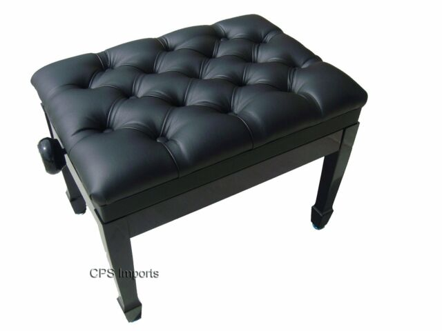 GENUINE LEATHER Ebony High Polish Adjustable Artist Piano Bench/Stool/Chair