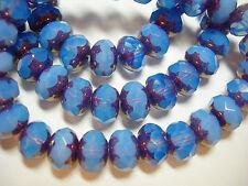 25 8x6mm Blue Opal with Bronze Czech Glass Rondelle beads