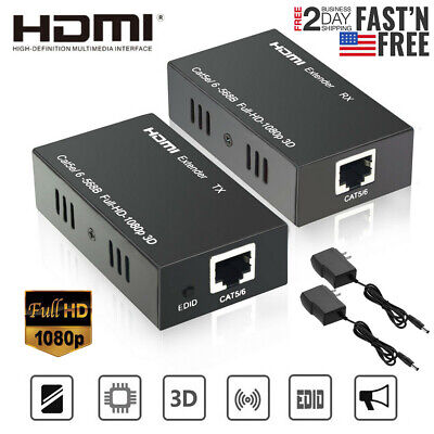 3D 1080P HDMI Network Extender Over Single Cable CAT5E//6 Ethernet RJ45 FHD 60M