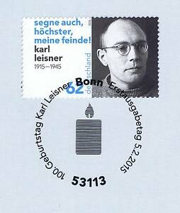 Rfa 2015: Karl Leisner Nº 3135 Avec Le Bonner Ersttags-cachet Spécial! 1a! 153-rstempel! 1a! 153fr-fr Afficher Le Titre D'origine